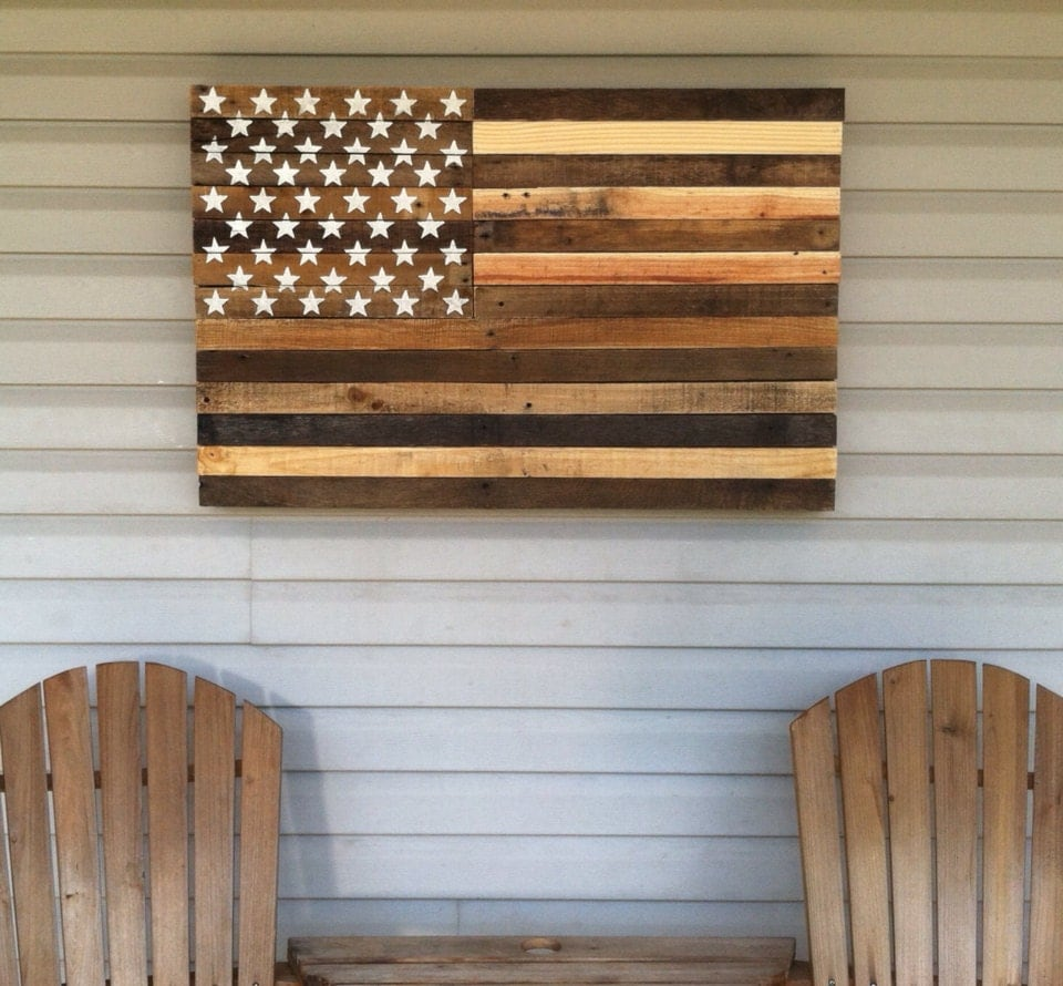 Reclaimed Pallet American Flag Hanging Wall Art 38 Long