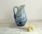 Soviet Vintage Glass Pitcher - Russian coloured glass jug - flower vase - blue white orange yellow stripes - home decor - made in USSR - OldTimeGoods