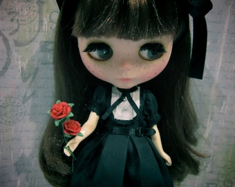 Blythe Gothic lolita maid dress English Rose Black Outfit