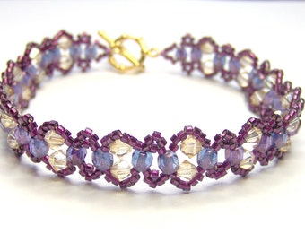 Violet lustre and crystal golden shadow swarovski elements bracelet, purple bracelet, elegant bracelet, swarovski crystal bracelet BR001