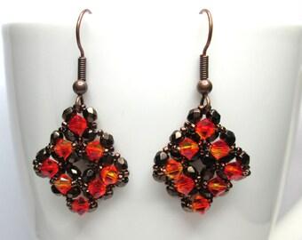 Fire opal and bronze diamond shaped swarovski earrings, autumn earrings, crystal earrings, statement earrings, swarovski earrings, ER023