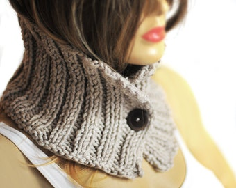 Chunky Cowl, hand knit, camel winter cowl, Cuffs bracelet, Winter Accessory, scarf, Valentine, Knitted camel Neckwarmer, Womens Cowl