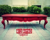 Red Coffee Table - Lush Aged Red Coffee/Cocktail Table // SOLD