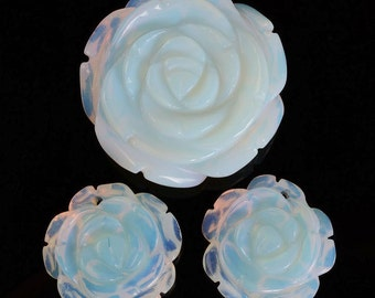 g0991 Carved opalite glass flower pendant earrings beads set 30mm & 20mm