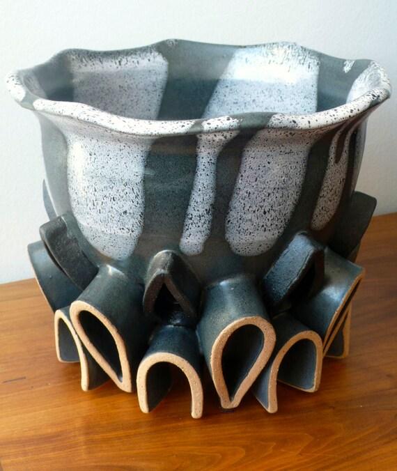Handmade Small Lotus Bowl - Wheel Thrown and Hand Built - Sculpture - Functional - Art