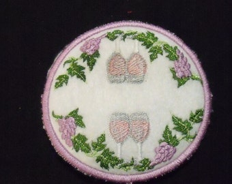 Elegant Coasters With Wine Glasses and Grapes, Set of Four (4) embroidered coast set for hot and cold beverages
