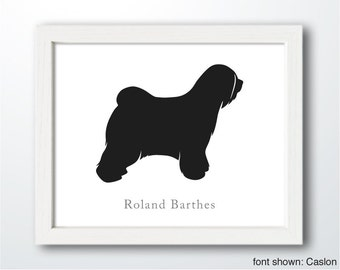 Personalized Hand-Cut Tibetan Terrier Silhouette with Custom Name - Tibetan Terrier art, dog portrait, dog home decor