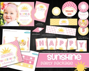 Sunshine Party Printables, My little sunshine printables, DIY Party Package