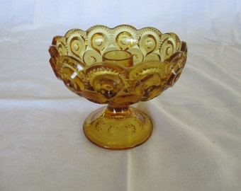Vintage Moon & Stars-Amber by L.E. Smith Glass Footed Candle Holder