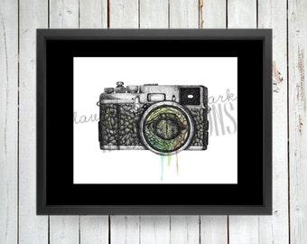 Crocodile Camera, Art Print, Illustration
