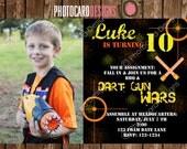 Foam Dart War Birthday Photo Invitation Card | Digital | DIY | Print file | invite | Gun | Party | Camo | Picture | Boy | Target | Military