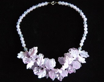 Pastel Purple Chunky Plastic Leaves Necklace