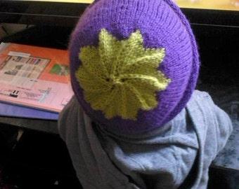 beautiful handmade aubergine hat  for newborn/adult