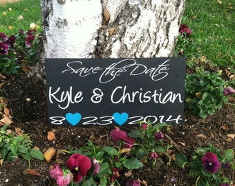 Save the Date Sign --  Engagement Sign - Wedding Signs - Save the Date Photo Prop - Custom Wood Signs Wedding Photo Prop