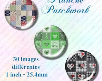 Collages digitales Patchwork pour cabochon rond 25mm, capsule, image imprimable,  Téléchargement immédiat , clipart, loisirs créatifs, bague