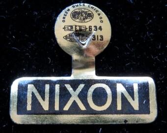 1960 President Nixon Presidential Campaign Clip Button - Free Shipping