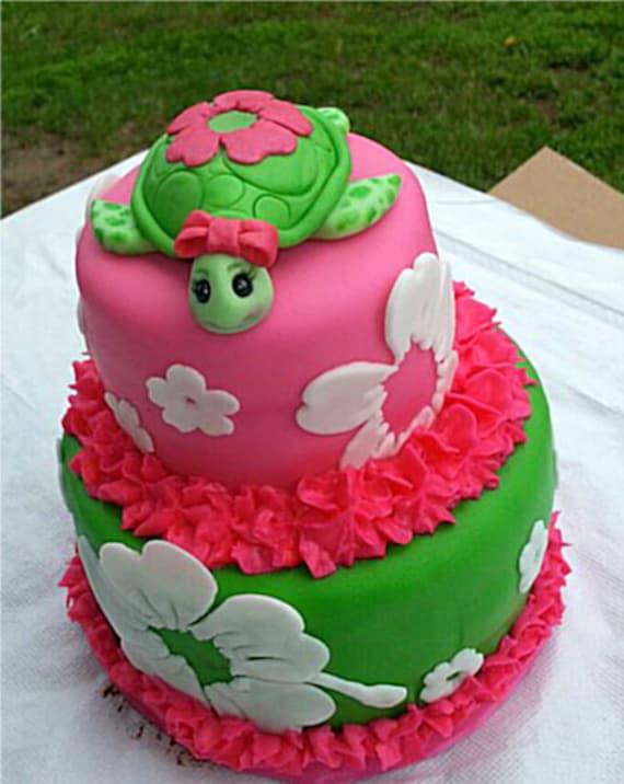 Items similar to Edible Fondant Sea Turtle Cake Topper on Etsy