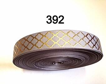 "3 or 5 yard 7/8"" Gold Quatrefoil on Gray Grosgrain Ribbon Hair Accessories"