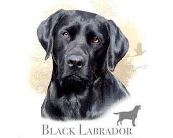 Black Lab Dog T SHIRT, Sweatshirt, Quilt Fabric Block, Item no. 875g