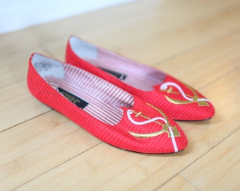 vintage nautical red & gold anchor flats womens 7 *
