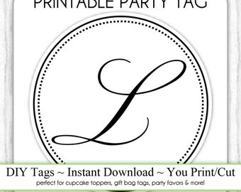 Instant Download - LETTER L, Monogram Party Tag, Black and White Monogram, DIY Cupcake Topper, You Print, You Cut