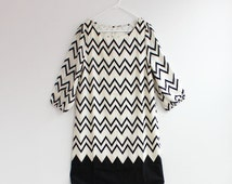 Minty Green Chevron Dress Cute Zig Zag Pattern Dress Black Chevron Dress White Chevron Dress in Small, Medium or Large