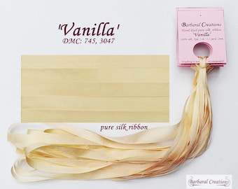 Hand dyed 2 mm wide pure silk ribbon, soie ruban - 'Vanilla'
