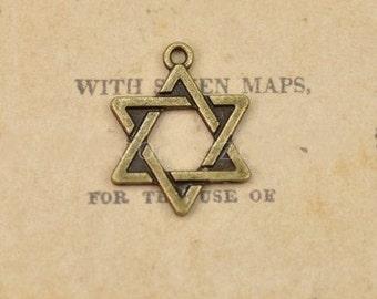 DIY  jewelry 50pcs  antiqued bronze six star charm pendant 18x22mm  The six pointed star charm pendant