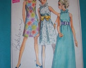Lined Sleeveless A-Line Dress Bias Neck Ruffle in Two Lengths Size 12 All 8 Pieces Vintage 60s Simplicity Sewing Pattern 7955
