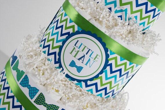 Diaper Cake - Diaper Cakes - Baby Shower Gift - Baby Shower Decor - Bow Tie Baby Shower - Bow Tie Diaper Cake - Chevron Diaper Cake