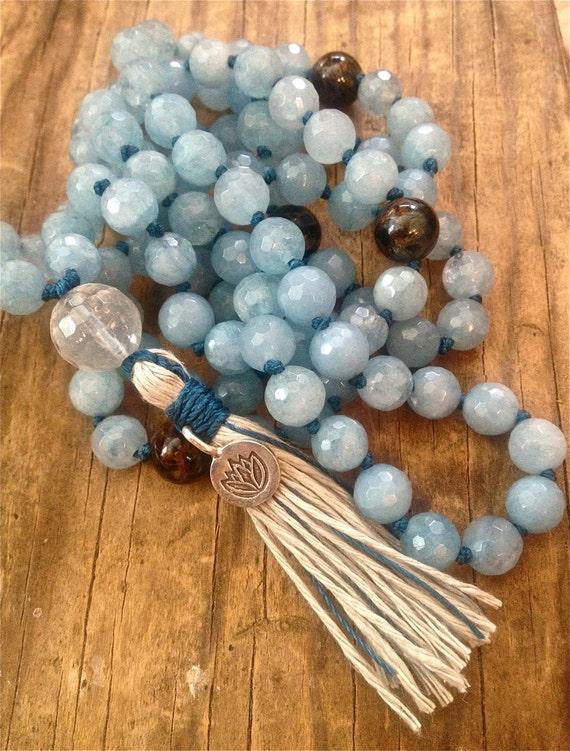 Aquamarine Mala Bead Necklace - Throat Chakra Mala Beads - Speak Your Truth Mala -  Healing Crystals - Spiritual Gift -  Yoga Jewelry
