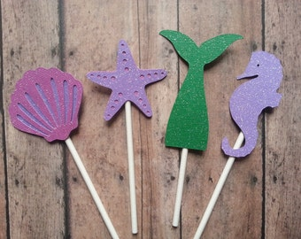 Glittery Starfish, Mermaid Tail, Seahorse, and Seashell Cupcake Toppers--Pink, Green, Purple