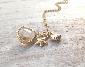 gold necklace, gold stone necklace, everyday jewelry, simple gold necklace, star and shell 027
