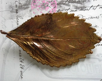 coppered coloured leaf brooch