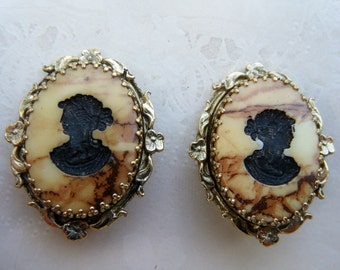 Whiting and Davis Cameo Earrings /Vintage Intaglio Cameo Earrings/ Clip on Earrings from the 1950's/ only for me jewelry/ gift for her
