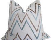 Embroidered Blue and Taupe Chevron Decorative Pillow Cover - Pillow Cover - Accent Pillow  - Toss Pillow - Double Sided - Throw Pillow