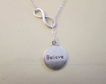 Believe Inspire Lariat Style Necklace