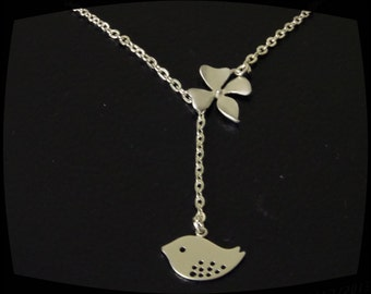 STERLING SILVER, Orchid flower lariat necklace, orchid and bird necklace,  Bridesmaid gift Sister, Best friend, Christmas gift