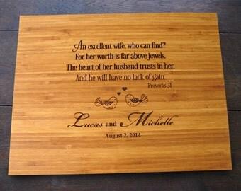 Custom Wife Cutting Board Wedding Present, Birthday or Christmas Gift, Bridal Shower Gift, Inspirational Kitchen Decor, Proverb 31