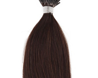 22inches 100grs,100s,Stick (I) Tip Human Hair Extensions 2 Darkest Brown