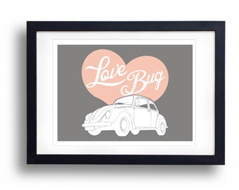 VW Love Bug A3 Print