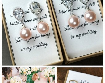 Bridal Earrings Drop Pearl Earrings Ivory Pearl Earrings Wedding Earrings Bridal Jewelry Blush pink Pearl Earrings Bridesmaid Gift N2