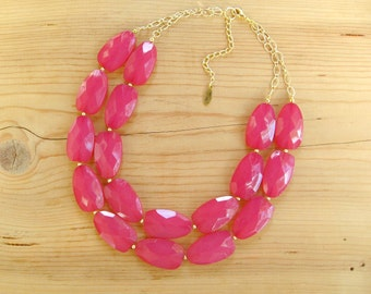 Raspberry Pink statement necklace, Fuchsia Magenta pink statement necklace