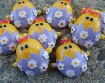 2 Easter Chicks Resin heads Hair Bow Resin Hair Bow Center