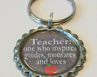 Grey and White Chalkboard Style Teacher Definition Flattened Bottlecap Keychain Great Gift
