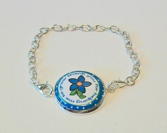 New Blue and White Flower Thank You for Helping Me Grow Teacher Silver Chain Fashion Bracelet