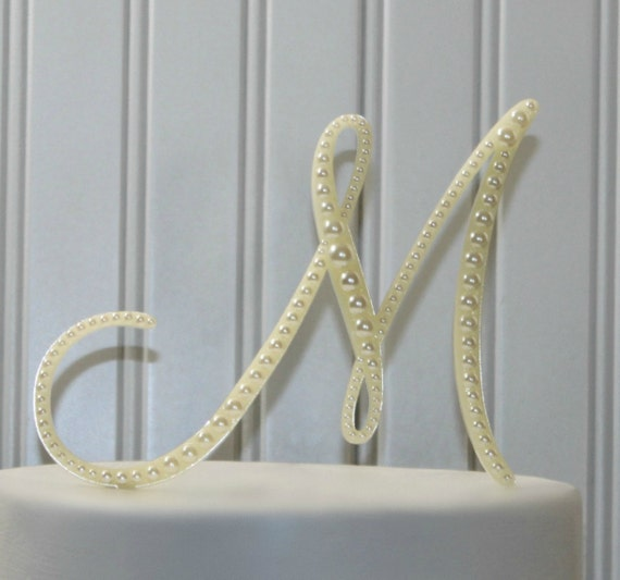 monogram letters wedding cake toppers items similar to pearl monogram wedding cake topper 5996