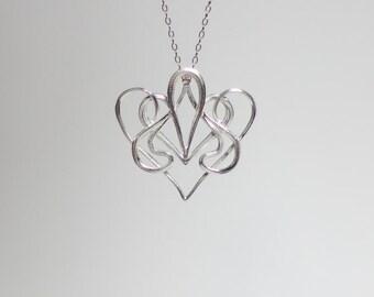 Nouveau Swirl Heart Pendant in Silver