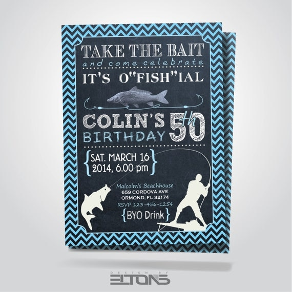 Fishing Birthday Party Invitation Printable / 30th By