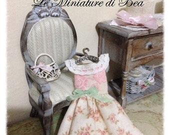 1/12 hanger- dress - miniature - dolls house - hand made - shabby chic